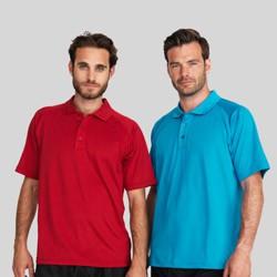 Funktions polo t-shirts med tryk og broderi