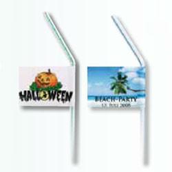 Sugerør med flag og reklame logo tryk