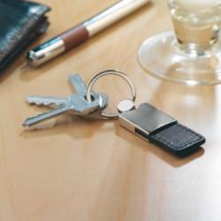 Læder nøgleringe med reklame logo tryk