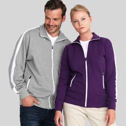 Sporty sweatshirts med lynlås med tryk og broderi