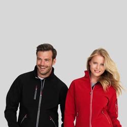 Soft shell kontrast jakke med tryk og broderi