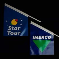 Udhængsflag, kioskflag og isflag med eget logo tryk