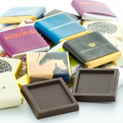 Chokolade kvadrater med reklame tryk