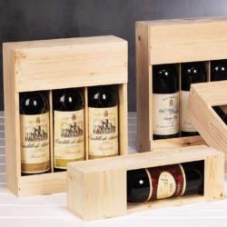 Vin emballage i træ med logo tryk