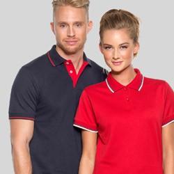 Polo t-shirts med kontrast med tryk og broderi