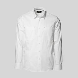 Stretch skjorte med tryk og broderi