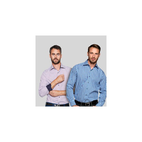 Skjorter med kontrast med tryk og broderi