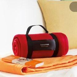 Fleece og picnic tæpper med reklame logo tryk