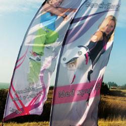 Beachflag med reklame logo tryk