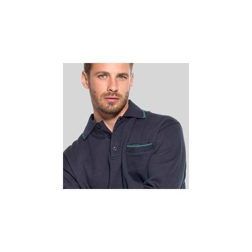 Klassisk polosweatshirt med knapper med tryk og broderi