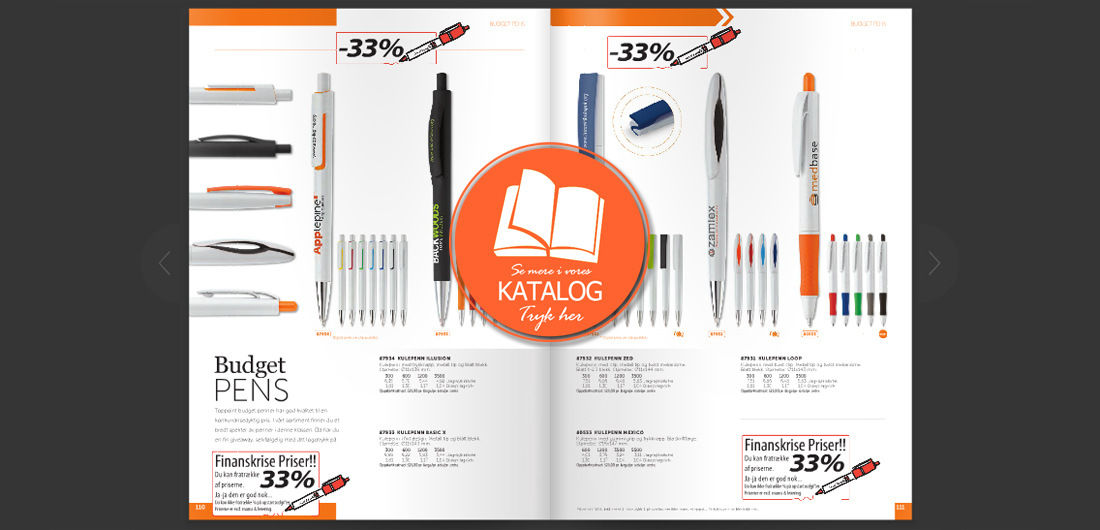 Reklame kuglepenne kataloget